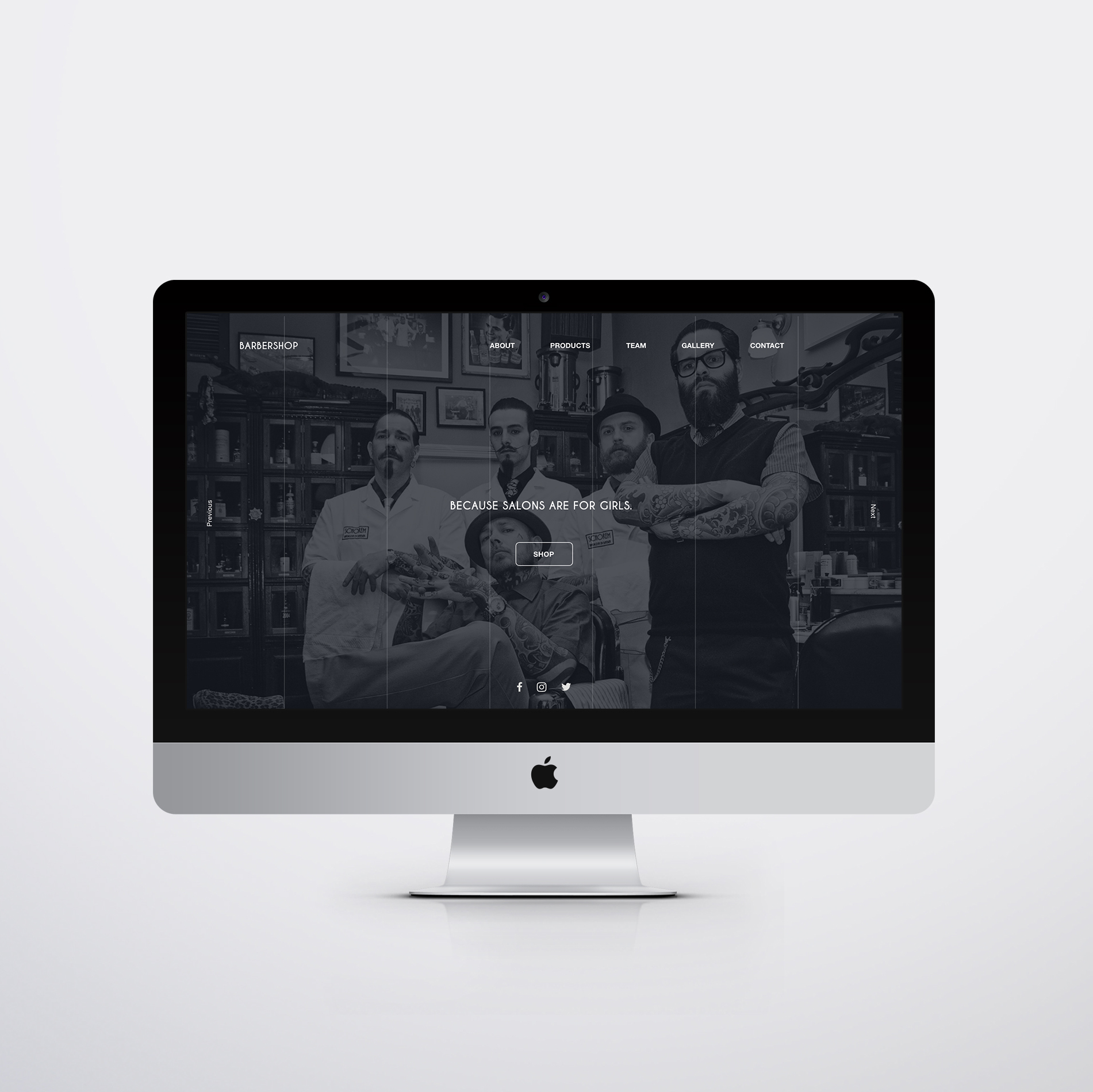 Mockup  UI website Barber